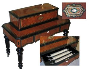 Interchangeable cylinder musical box and bespoke table